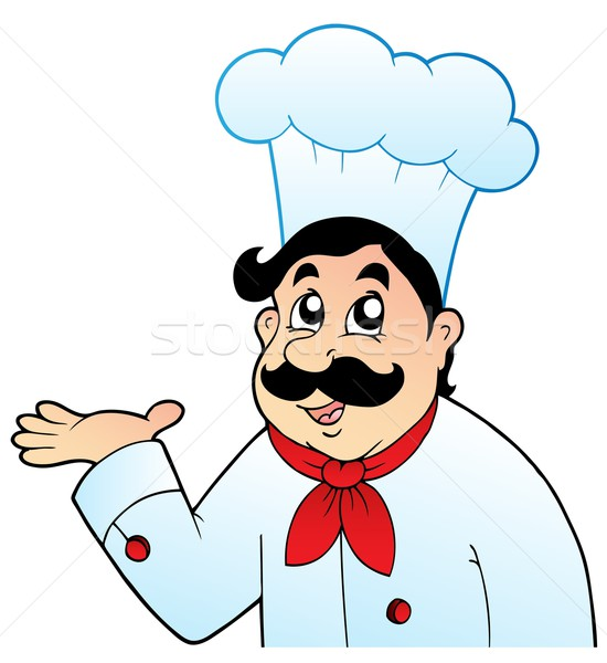 Cartoon chef in big hat Stock photo © clairev