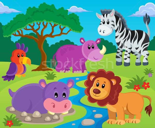 животные тема изображение дерево счастливым природы Сток-фото © clairev