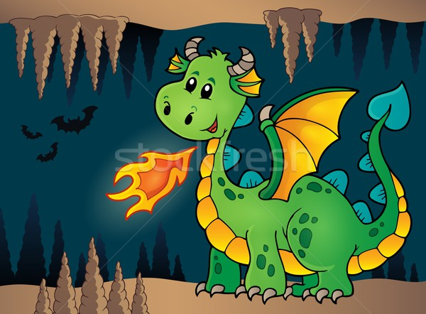 Cave with green happy dragon Stock photo © clairev