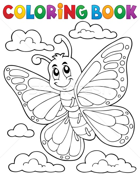 Coloring book happy butterfly topic 1 Stock photo © clairev