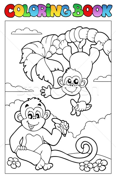 Stock photo: Coloring book with two monkeys