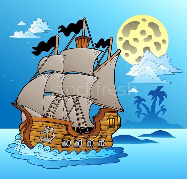 Old vessel in night seascape Stock photo © clairev