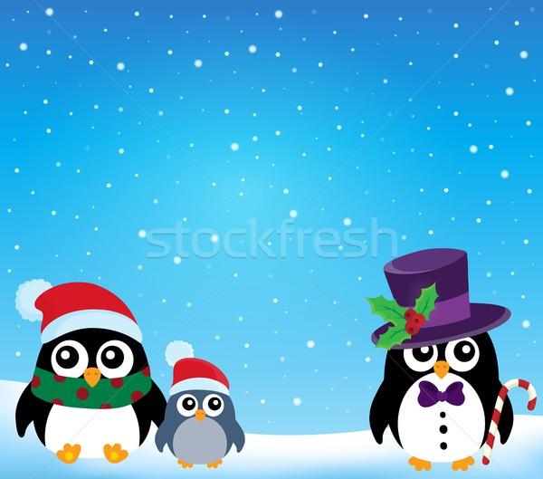 Gestileerde christmas sneeuw kunst vogel vogels Stockfoto © clairev