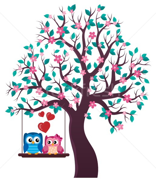 Tree with Valentine owls theme 1 Stock photo © clairev