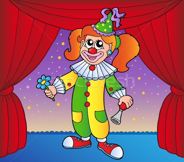 Clown girl on circus stage 1 Stock photo © clairev