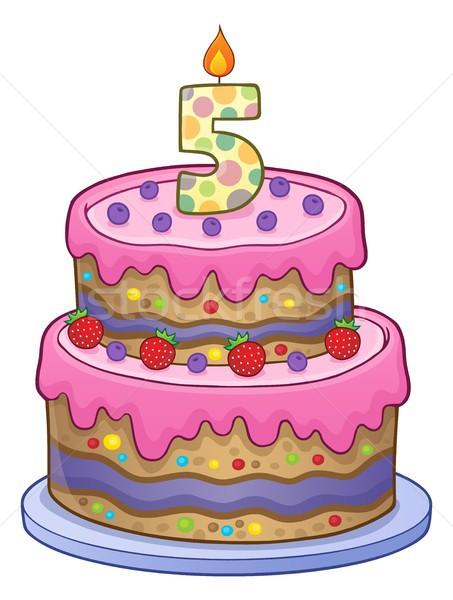 Születésnapi torta kép 5 éves terv születésnap rajz Stock fotó © clairev