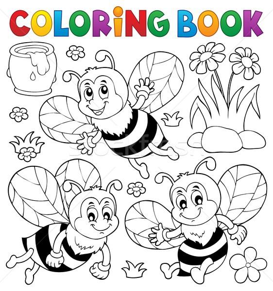 Kolorowanka szczęśliwy pszczół temat kwiat książki Zdjęcia stock © clairev