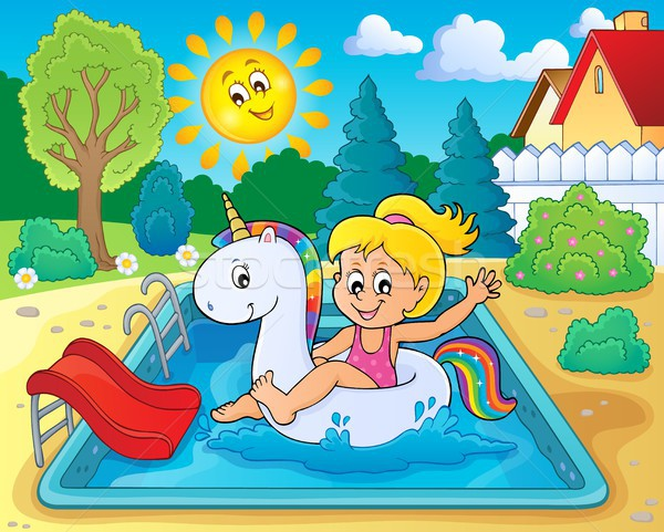 Girl floating on inflatable unicorn 3 Stock photo © clairev