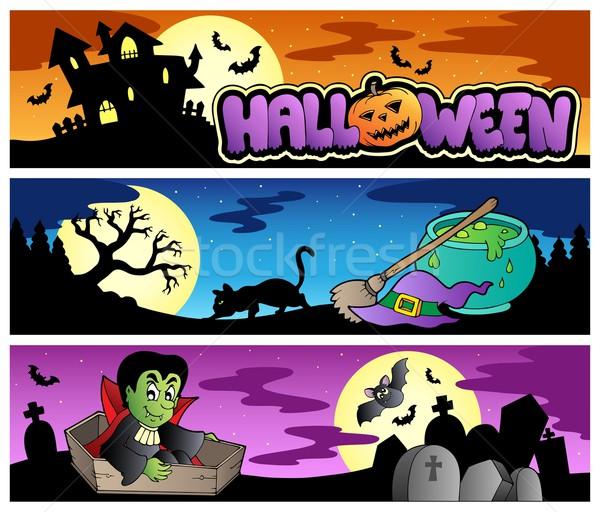 Halloween banners conjunto casa gato projeto Foto stock © clairev
