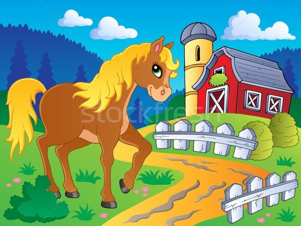 Ló kép boldog terv rajz út Stock fotó © clairev