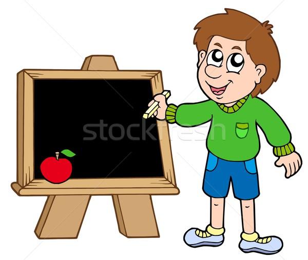 Schooljongen schrijven Blackboard kinderen school kind Stockfoto © clairev