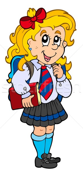 Lány iskolai egyenruha gyerekek iskola diák művészet Stock fotó © clairev