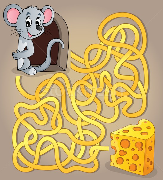 Maze 1 with mouse and cheese Stock photo © clairev