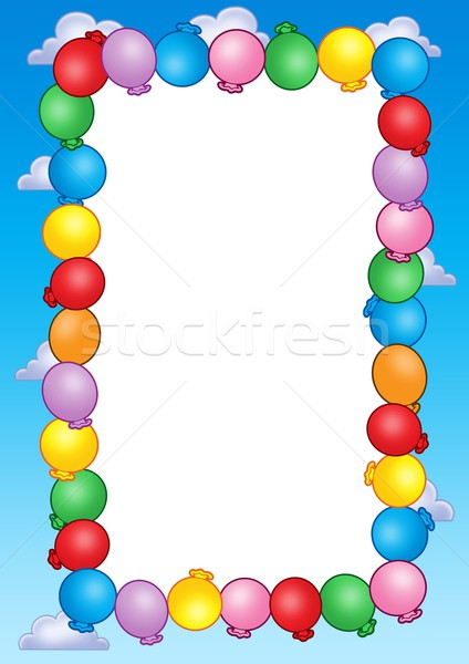 Party invitation frame with balloons Stock photo © clairev