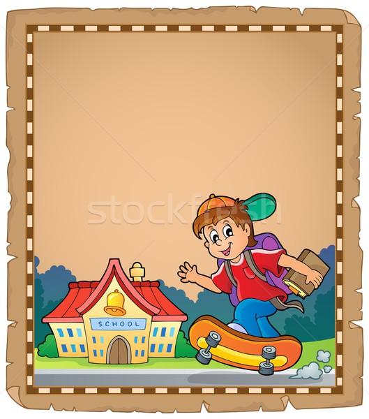 Pergamino nino escuela sonrisa edificio feliz Foto stock © clairev