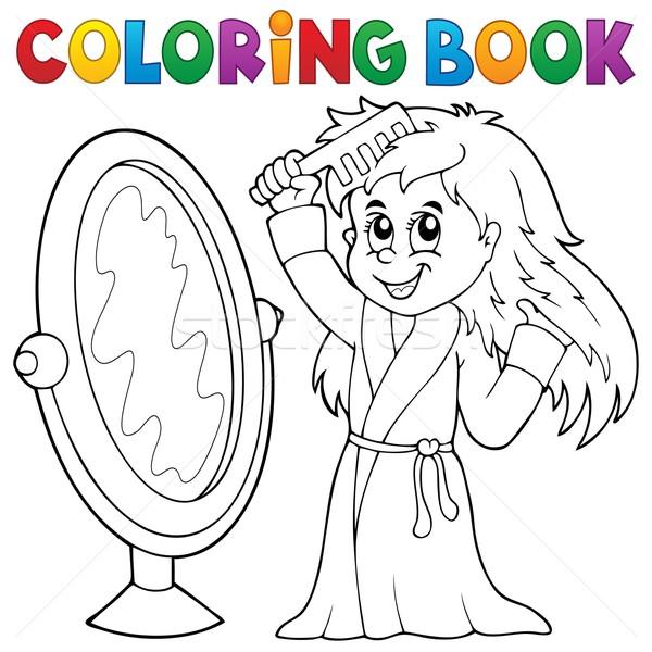 Coloring book girl combing hair theme 1 Stock photo © clairev