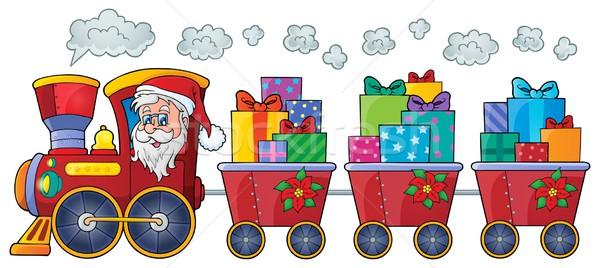 Stock fotó: Karácsony · vonat · kép · arc · művészet · ajándék