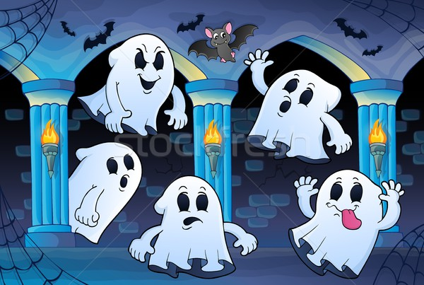Ghosts in haunted castle theme 2 Stock photo © clairev