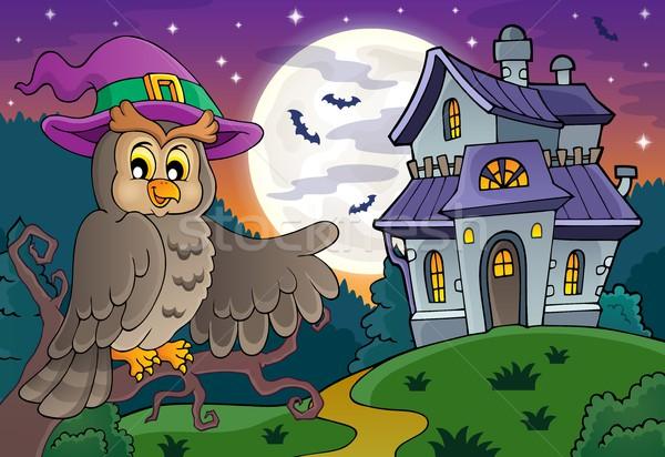 Owl near haunted house theme 1 Stock photo © clairev