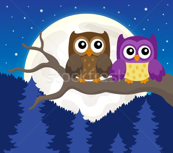 Stylized owls on branch theme image 6 Stock photo © clairev