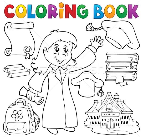Coloring book graduation theme 2 Stock photo © clairev