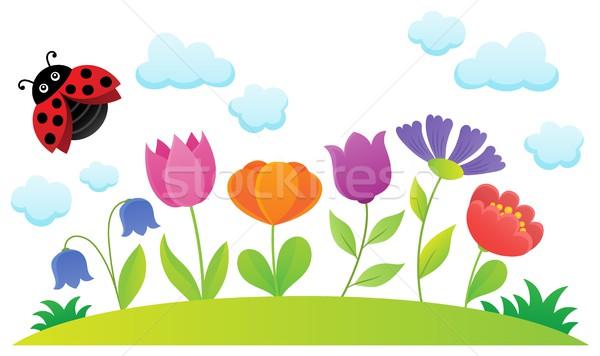 Stylizowany kwiaty temat obraz kwiat charakter Zdjęcia stock © clairev