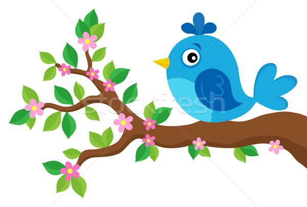 Stylized bird on spring branch theme 3 Stock photo © clairev