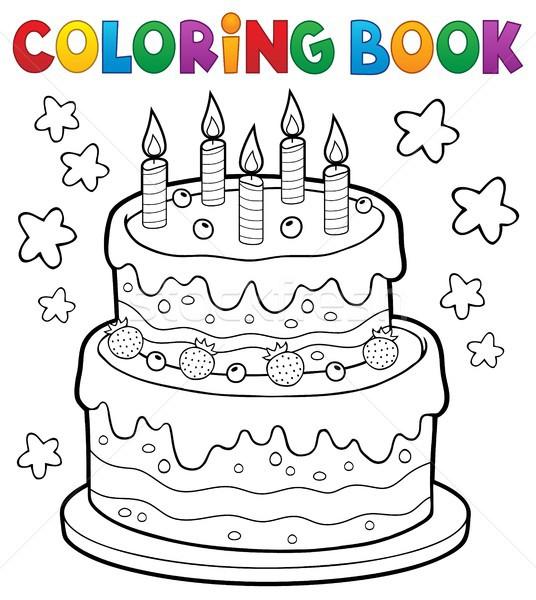 Libro · para · colorear · torta · velas · libro · cumpleanos · arte ...