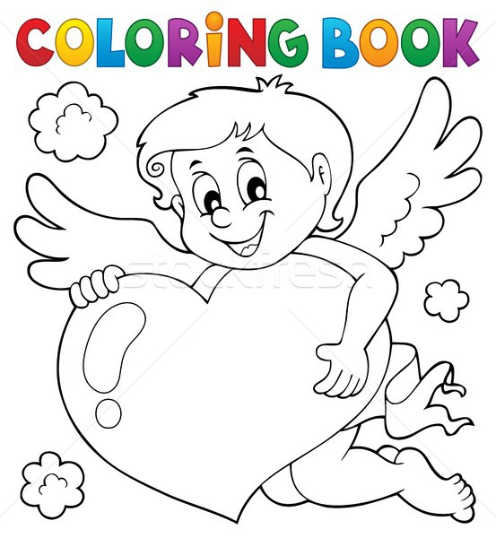 Coloring book Cupid topic 4 Stock photo © clairev