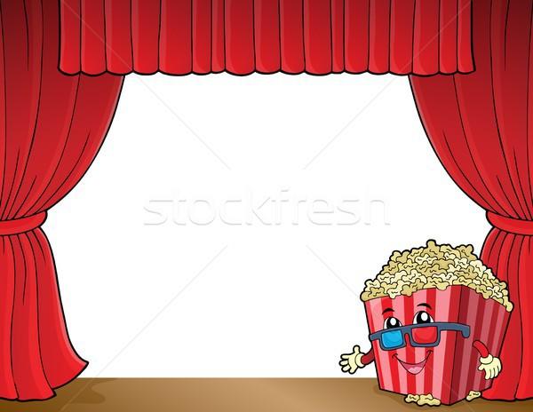 Stylisé popcorn image heureux art verres Photo stock © clairev