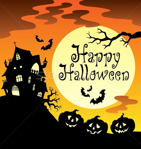 Gelukkig halloween maan licht kunst teken Stockfoto © clairev