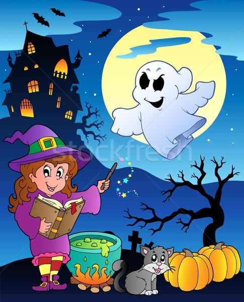 Stockfoto: Scène · halloween · huis · boek · gebouw · nacht