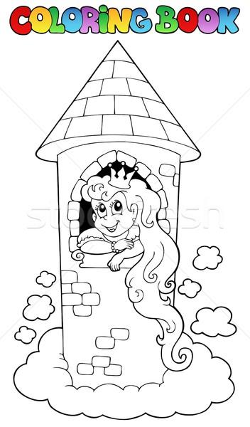 Livro para colorir princesa mulher sorrir livro mulheres Foto stock © clairev