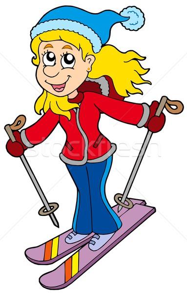 Desenho animado esqui mulher mulheres esportes projeto Foto stock © clairev