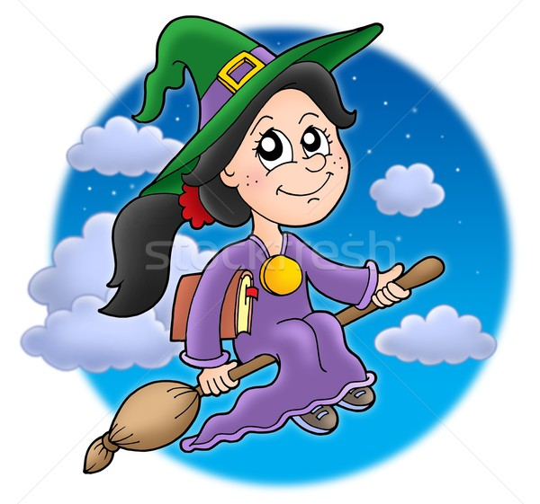 Cute witch on broom Stock photo © clairev