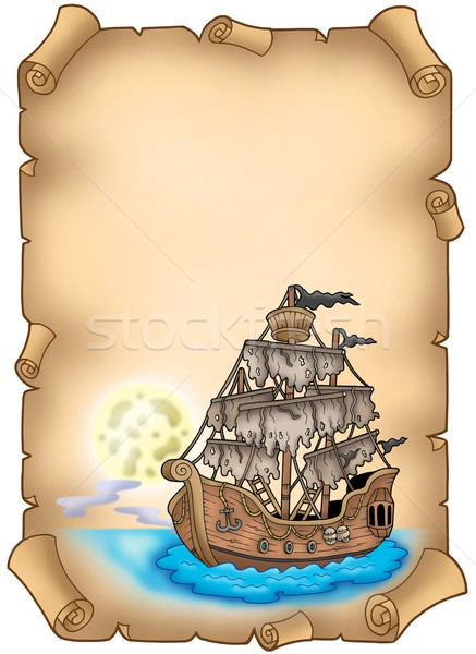 Old scroll with mysterious ship Stock photo © clairev