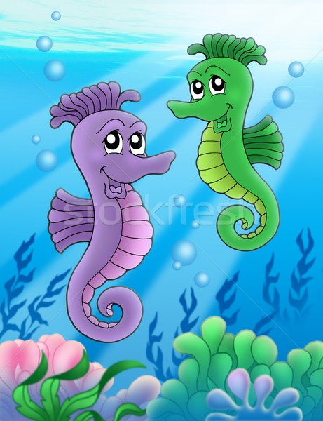 Pair of sea horses Stock photo © clairev