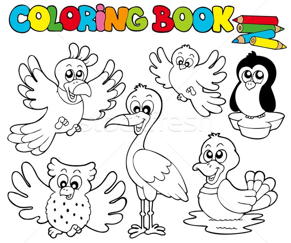 Stock Photo Vector Illustration Coloring Book With Cute Birds 1