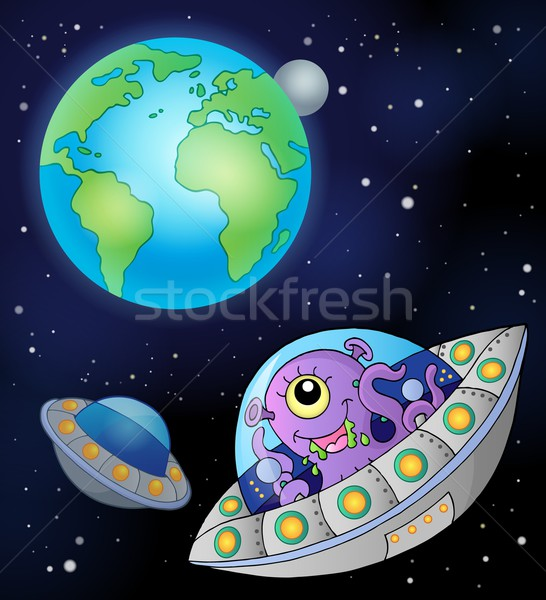 Flying saucers near Earth Stock photo © clairev