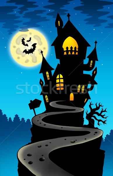 Kisértetjárta ház domb hold szín illusztráció Stock fotó © clairev