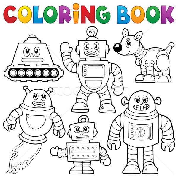 Boyama Kitabı Robot Toplama Kitap Dizayn Boya Vektör