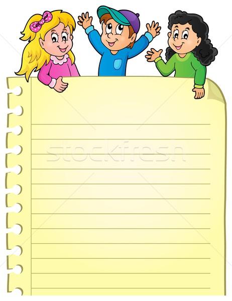 пустая страница счастливым дети бумаги улыбка ребенка Сток-фото © clairev