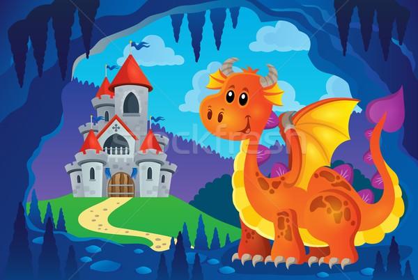 изображение счастливым дракон улыбка искусства замок Сток-фото © clairev