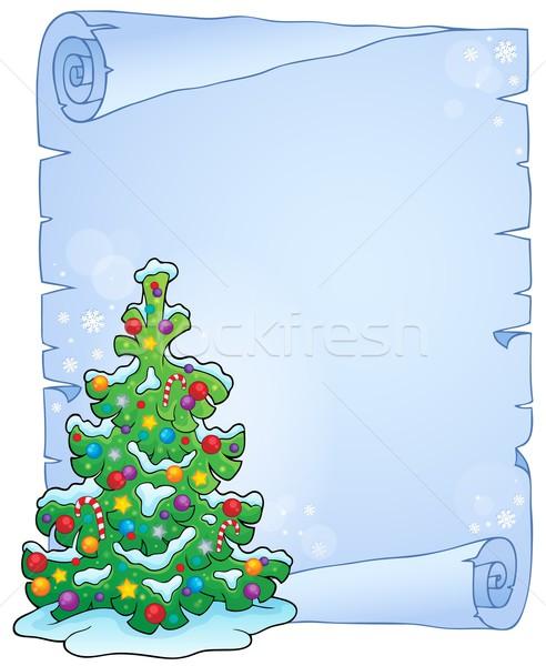 Pergamen karácsonyfa téma fa művészet karácsony Stock fotó © clairev