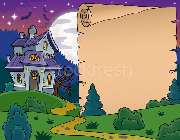 Parchment with haunted house thematics 5 Stock photo © clairev