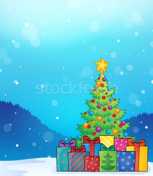 рождественская елка подарки изображение окна подарок лента Сток-фото © clairev