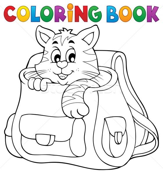 Coloring book cat in schoolbag Stock photo © clairev