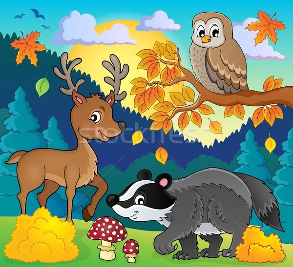 Lasu przyrody obraz drewna ptaków pozostawia Zdjęcia stock © clairev