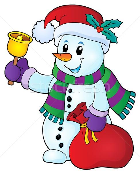 Karácsony hóember téma kép boldog hó Stock fotó © clairev