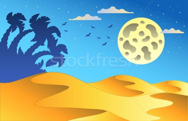 Cartoon nuit désert paysage ciel art Photo stock © clairev